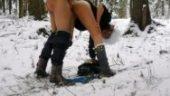 jebanje pornic na snegu, dlakave picke, svrsavanje